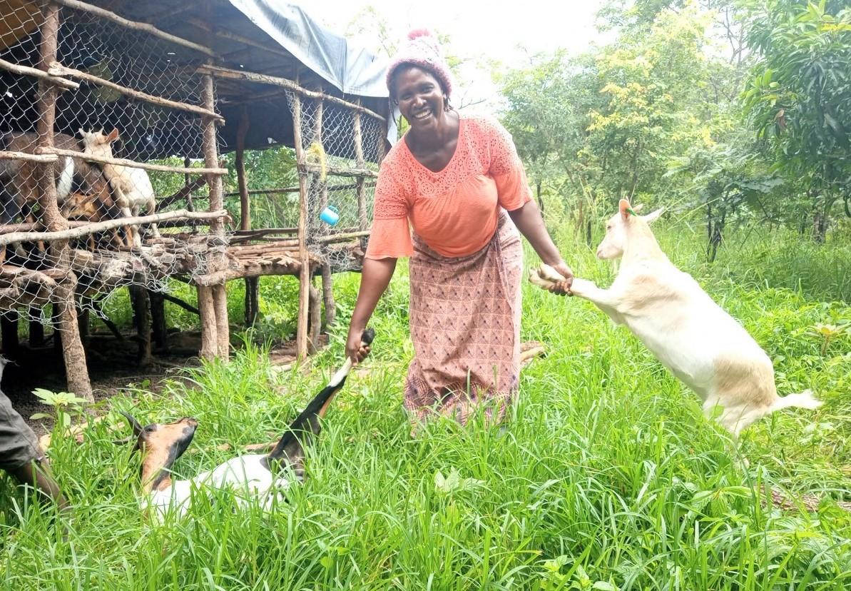 Sylvia Chiinda wth her goats